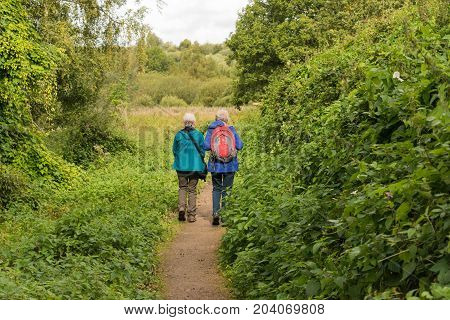 two happy senior ladies having a walk in the park among birds and wildlife.