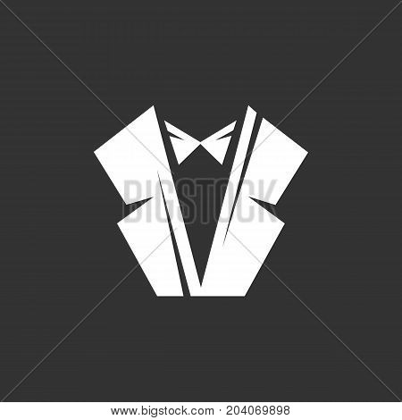 Tuxedo icon isolated on black background. Tuxedo vector logo. Flat design style. Modern vector pictogram for web graphics - stock vector
