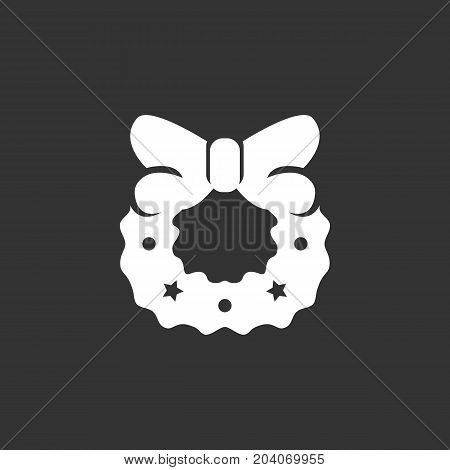 Christmas wreath icon isolated on black background. Christmas wreath vector logo. Flat design style. Modern vector pictogram for web graphics - stock vector