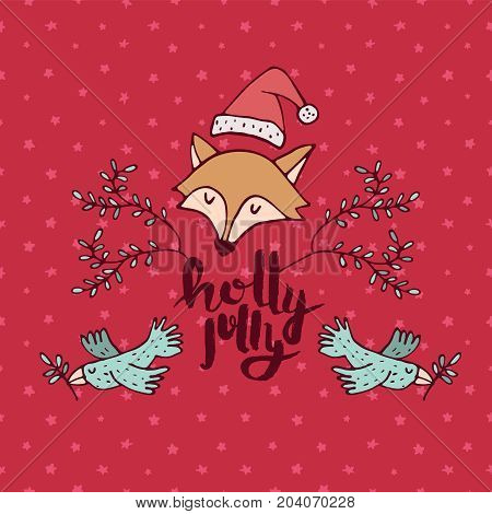 Christmas Holiday Red Fox Cartoon Greeting Card