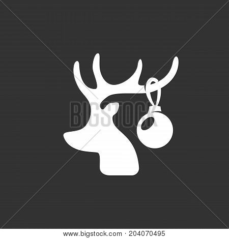 Christmas deer icon isolated on black background. Christmas deer vector logo. Flat design style. Modern vector pictogram for web graphics - stock vector
