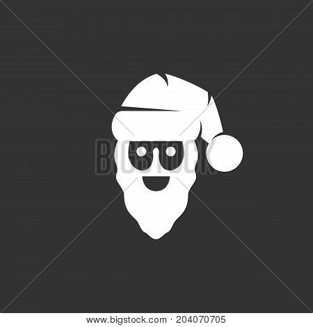 Santa icon isolated on black background. Santa vector logo. Flat design style. Modern vector pictogram for web graphics - stock vector