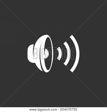 Speaker icon isolated on black background. Speaker vector logo. Flat design style. Modern vector pictogram for web graphics - stock vector