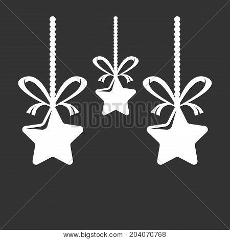 Christmas stars with bows icon isolated on black background. Christmas stars vector logo. Flat design style. Modern vector pictogram for web graphics - stock vector