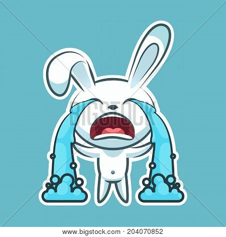Sticker emoji emoticon, emotion sob, cry, weep, vector isolated illustration happy character sweet, cute white rabbit, bunny, hare, coney, cony, lapin for happy Easter mobile app