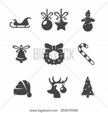 Modern icons set silhouettes of Christmas and New Year. Symbol collection isolated on white background. Modern Christmas flat pictogram illustration. Vector logo concept for web graphics - stock vector