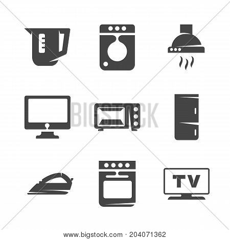 Modern icons set silhouettes of household appliances. Appliances symbol collection isolated on white background. Modern flat pictogram illustration. Vector logo concept for web graphics - stock vector