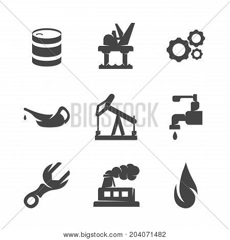 Modern icons set silhouettes of the oil industry. Oil industry symbol collection isolated on white background. Modern flat pictogram illustration. Vector logo concept for web graphics - stock vector