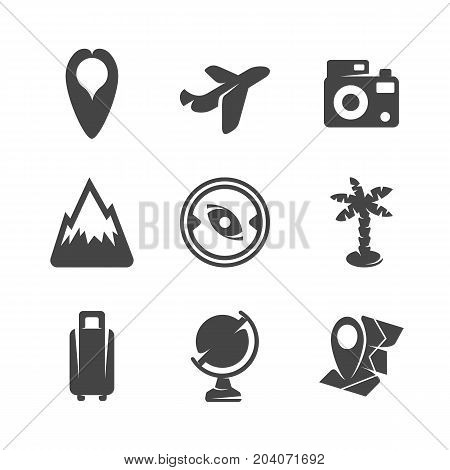 Modern icons set silhouettes of travels. Travel symbol collection isolated on white background. Modern flat pictogram illustration. Vector logo concept for web graphics - stock vector