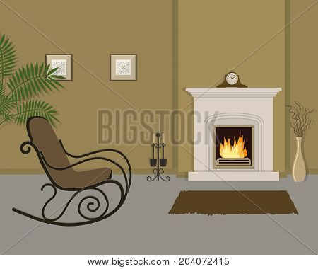 Beige living room with fireplace and rocking chair. The room also has a vase with decorative branches, mantel clock and pictures on the wall. Vector illustration.