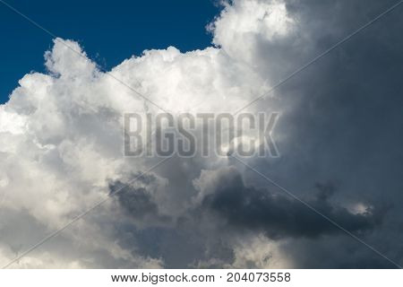 Large Cumulus clouds and dark rain clouds. The visible part of the clear blue sky. Downstairs large clouds. A strong wind blows. Cumulus clouds lit by sunlight.