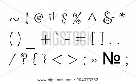 Black punctuation marks. Vector picture on a white background