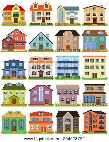 Set of private house on a white background. Vector illustration.