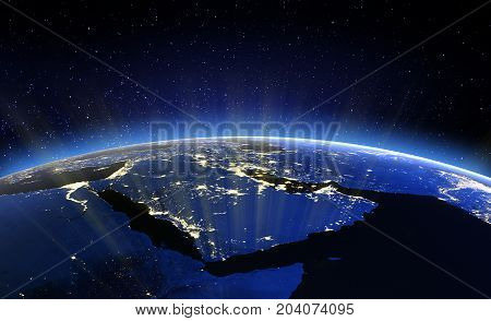 Middle East. 3D Rendering. Stars my own photo. Elements of this image furnished by NASA