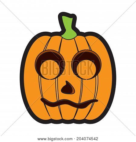 Isolated shy jack-o-lantern on a white background, Vector illustration