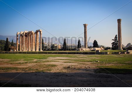 Temple of Olympian Zeus view, Athens, Greece