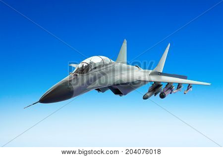 Military Fighter Fly Above A Blue Sky