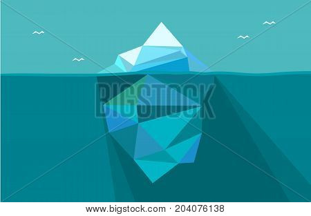 Iceberg under water and above water. Vector illustration in low poly polygon style. Concept image