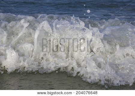 Dynamic image of sea wave close look