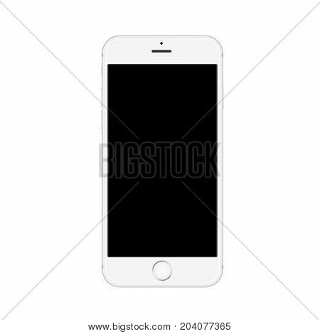 Realistic white smartphone isolated on white background. Smartphone realistic vector iphon illustration. Mobile phone mockup with blank screen isolated on white background