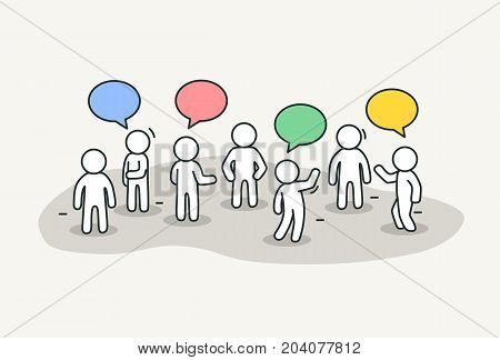Little white people talk with chat bubbles. Conference or discussion concept. Hand drawn cartoon or sketch design. Vector illustration