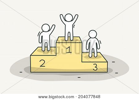 Little white people on pedestal. Success and victory concept. Hand drawn cartoon or sketch design. Vector illustration
