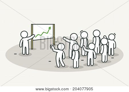 Little white people with leader making a presentation. Conference or presentation concept. Hand drawn cartoon or sketch design. Vector illustration