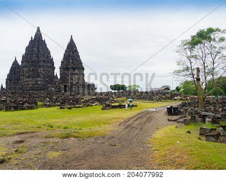 Prambanan temple near Yogyakarta on Java island Indonesia - travel and architecture background.