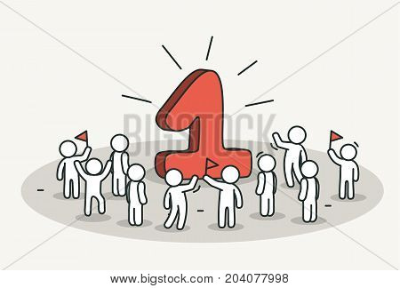 Little white people celebrate one year anniversary or birthday. Hand drawn cartoon or sketch design. Vector illustration
