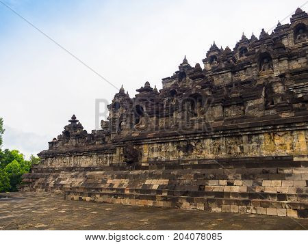 Close up of a beautiful side of Borobudur temple in Indonesia.