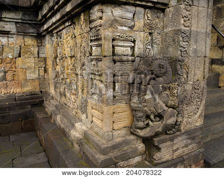Bas relief, Borobudur Temple, Location in Central Java, Indonesia