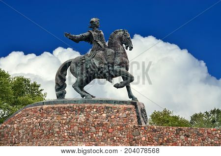 Equestrian statue of Empress Elizabeth Petrovna. Baltiysk, until 1946 Pillau, Russia