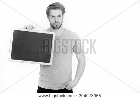Empty Blackboard In Hand Of Man Or Businessman