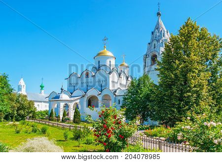 The Suzdal Intercession Cathedral Through The Greenery
