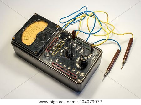 Vintage analog multimeter. Was used in the Soviet army.
