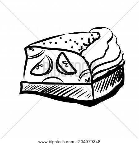 Hand Drawn Sketch of Apple Pie Piece. Hand Drawn Sketch of Food Elements