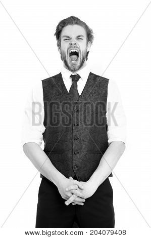 Businessman, Bearded Man Or Shouting Gentleman In Waistcoat And Tie