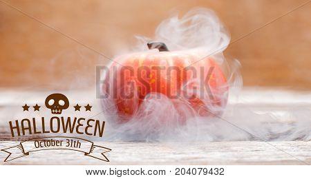 Happy Halloween. Spooky pumpkin with smoke. Autumn holiday