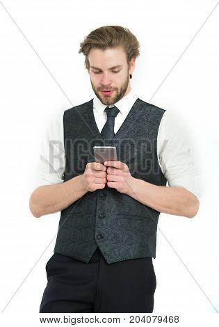 Guy Presenting Product Of Smartphone.