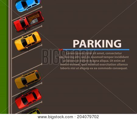 City parking vector web banner. Shortage parking spaces. Many cars in a crowded parking. Parking zone. Vector illustration
