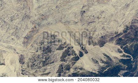 Bird's eye view of mountain ridge leading into deep gap. Julian Alps, Slovenia.