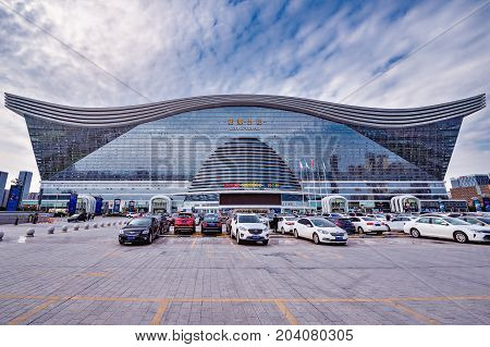 Chengdu China - October 29 2016: New Century Global Center is 100-metre-tall with 1700000 square metres of floor space making it the world's largest building measured by floor space.