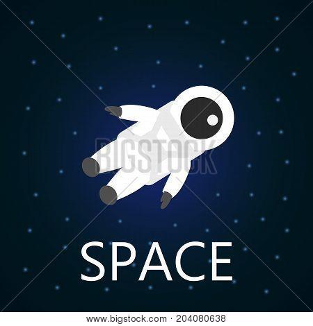 Astronaut in space. Vector cartoon character on dark background. Spaceman between the stars.