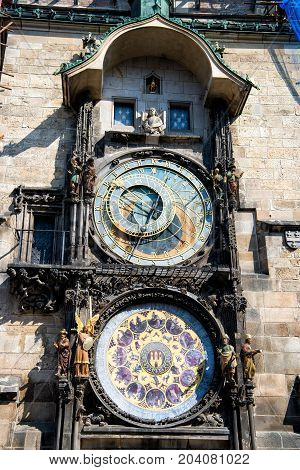 Prague Astronomical Clock in the Old Town of Prague. Czech republic