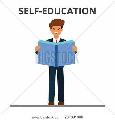 Business self-education. Man reading book. Businessman learning, personal development, professional development, growth.