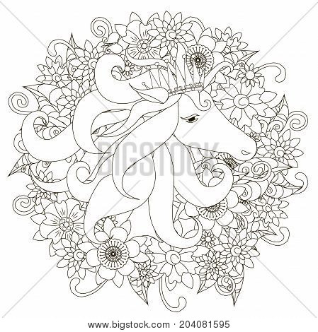 Monochrome hand drawn horse in flowers. Doodle style anti stress stock vector illustration