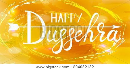 White text calligraphy inscription Happy Dussehra festival Indian with bow and colorful balls on orange background.