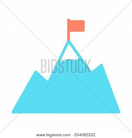 Mountains with flag on peak icon. Goal achievement symbol. Success pictogram. Silhouette vector illustration