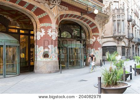 BARCELONA - MAY 01: The Palau de la Musica Catalana concert hall designed in the Catalan modernista style by the architect Lluís Domènech i Montaner in Barcelona Spain on May 1st 2017