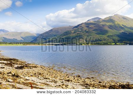 Loch Shiel Glenfinnan and its coastline  Scotland Panorama